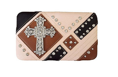 Rhinestone Cross Spiritual Western Flat Wallet Pocketbook Peach Pink Brown Black