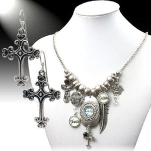 Bling Hope Faith Love Dream Aztec Feather Cross Necklace Earrings Spiritual Jewelry Set
