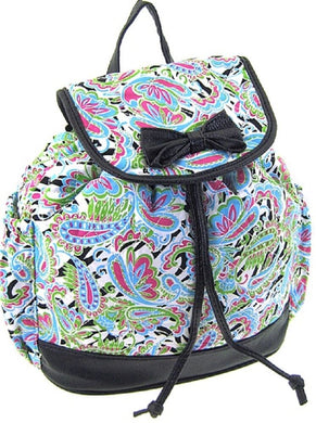 Ribbon Bow Paisley Floral Backpack School Camp Work Travel Purse Pink Blue Black