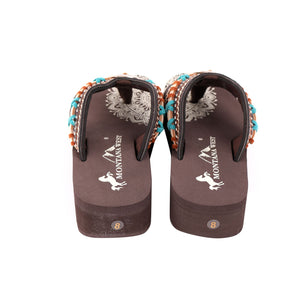 Montana West Aztec Flip Flops Concho Sandals Braided Stitched Shoes Brown Tan Beige