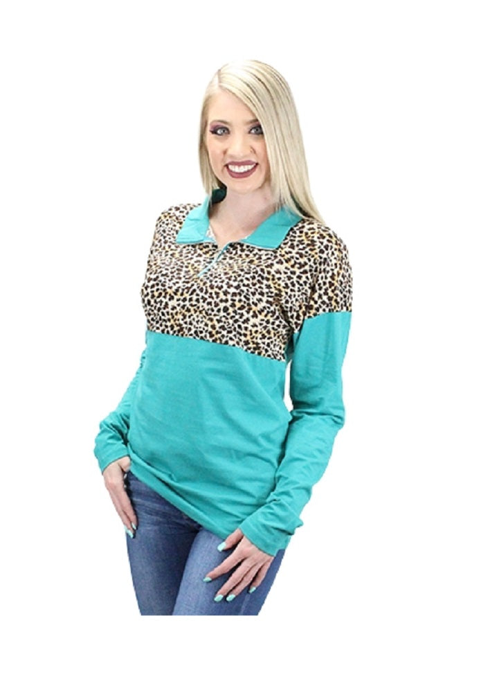 Leopard Pull Over Shirt Zipper Dressy Cheetah Long Sleeve Top Turquoise Blue