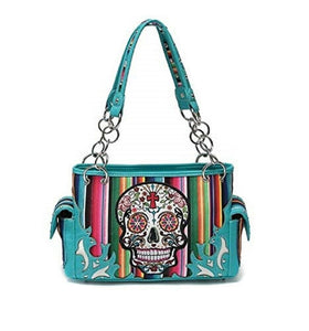 Serape Stripes Sugar Skull Concealed Carry Gun Purse Aztec Bag Turquoise Blue