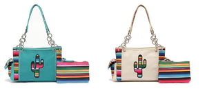 Serape Aztec Cactus Concealed Carry CCW Handbag Shoulder Bag Purse Pouch Set Turquoise Blue Beige