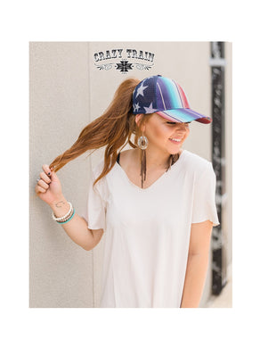 Crazy Train Serape Stars Ponytail Hat Messy Bun American USA Aztec Mesh Cap