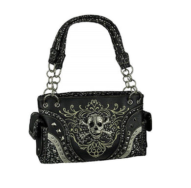 Skull Concealed Carry Purse Crossbones Bling Rhinestone Shoulder Bag Black