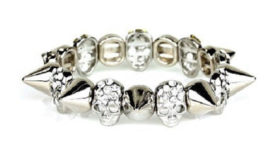 Skull Head Bling Rhinestone Spike Stretch Bracelet Silver Tone Jewelry