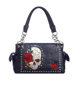 Skull Rose Flower Purse Rhinestone Concealed Carry CCW Shoulder Bag Black