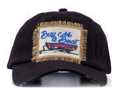 Southern Junkie Buy Me A Boat Baseball Distressed Hat Cap Black Fringe Patch
