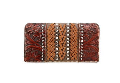 Trinity Ranch Montana West Stitched Floral Tooled Partial Leather Trifold Zipper Wallet Brown