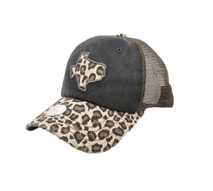 Leopard Texas Hat Vented Mesh Baseball Cheetah Cap Adjustable Black Brown Tan
