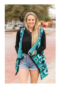 Crazy Train Aztec Vest Geometric Western Sleeveless Top With Pockets Turquoise Blue Black