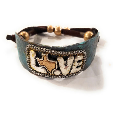 Texas State Love Western Cowgirl Bracelet Adjustable Patina Turquoise Blue