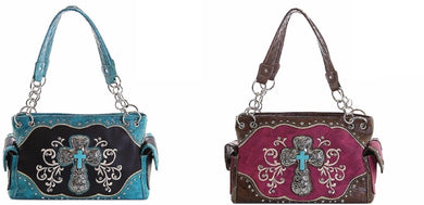 Turquoise Bling Cross Swirl Concealed Carry Purse Handbag Pink Brown or Blue Black