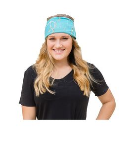 Crazy Train Wide Headband Womens Stretch Hairband Turquoise Blue Stone Marble 4""
