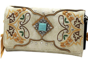 Turquoise Blue Concho Messenger Bag Braided Womens Wristlet Purse Wallet Combo