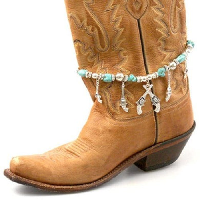 Gun Pistol Western Bling Rhinestone Boot Strap Anklet Charm Jewelry Turquoise Blue