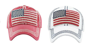 USA Flag Distressed Hat American Patriotic July 4th Vintage Adjustable Cap White or Red