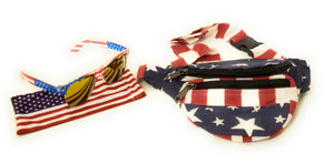 USA American Flag July 4th Patriotic Fanny Pack Money Bag Waist Purse Sunglasses Red Blue
