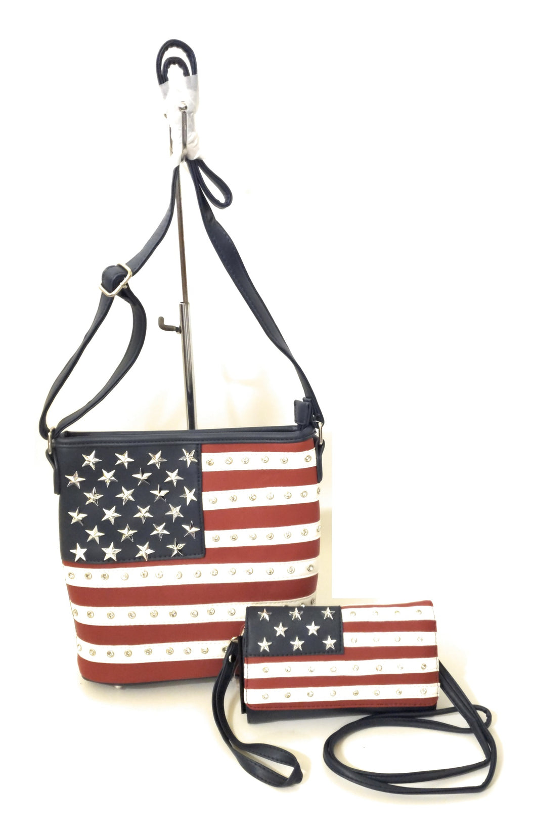 USA American Flag Patriotic Concealed Carry Messenger Bag Purse Wristlet Wallet Set