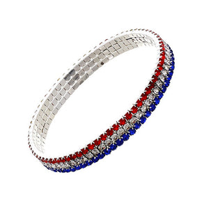 USA American Patriotic July 4th Bling Rhinestone Stretch Bracelet Jewelry Red Blue