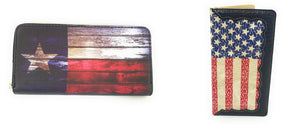 USA Texas American Patriotic Stars Flag 4th Zipper Bifold Wallet Red Blue Black