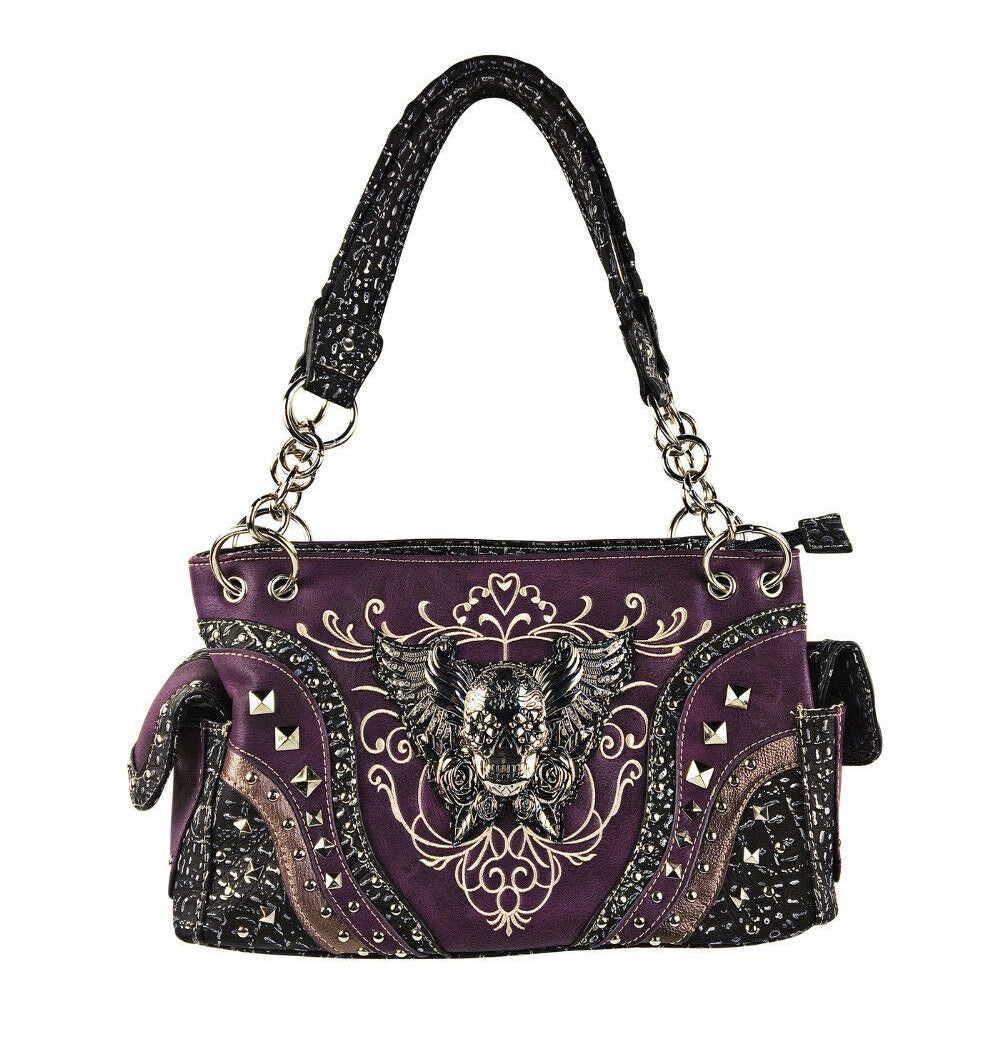 Sugar Skull Wings Concealed Carry CCW Purse Shoulder Bag Pocketbook Purple