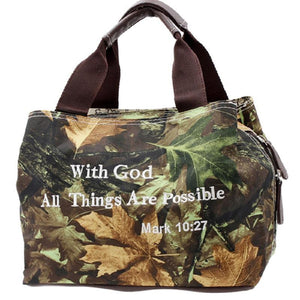 With God All Things Possible Verse Camo School Camp Lunch Box Bag Lunchbox Brown