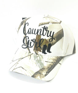 Realtree Adjustable Western Camo Blue Cowgirl Up or White Country Girl Cap Hat