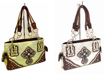 Zebra Rhinestone Cross Concealed Carry Shoulder Bag Purse Handbag Pocketbook Green Beige Brown