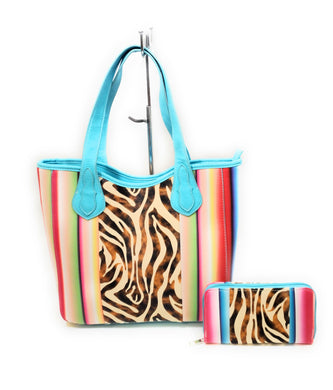 Zebra Tiger Serape Aztec Left Right Concealed Carry Tote Purse Zipper Wallet Set Blue