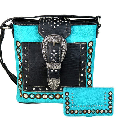 Montana American Bling Concealed Carry Buckle Messenger Purse Wallet Turquoise Blue