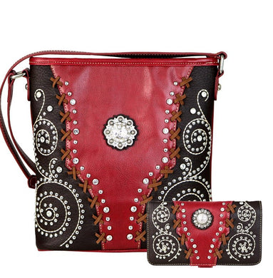 Montana West American Bling Concealed Carry Concho Messenger Bag Purse Wallet Red