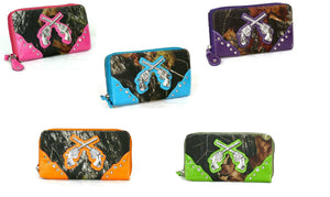 Camo Bling Rhinestone Gun Crossed Pistols Womens Western Zipper Wristlet Wallet Blue Pink Purple