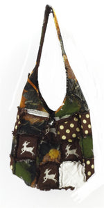 Deer Camo Crossbody Patchwork Ragbag Messenger Rag Bag Purse Green Orange Brown