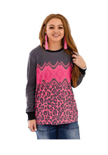 Crazy Train Aztec Leopard Shirt Long Sleeve Womens Cheetah Top Western Clothing Pink Gray