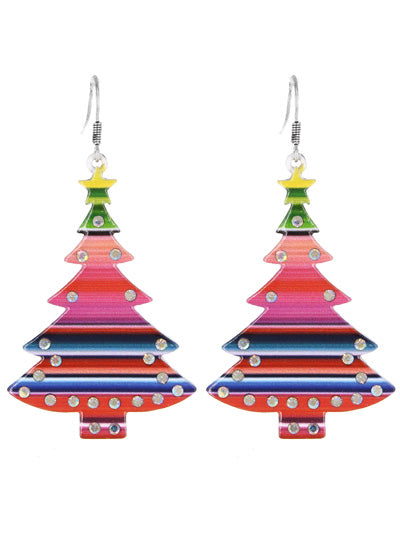 Serape Aztec Christmas Tree Star Earrings Bling Rhinestone Holiday Jewelry 2.5