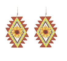 Lightweight Sunflower Earrings Womens Ladies Western Fish Hook Jewelry 2""