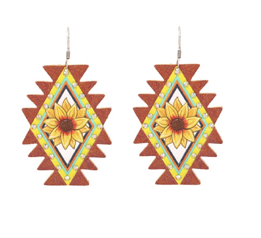 Lightweight Sunflower Earrings Womens Ladies Western Fish Hook Jewelry 2