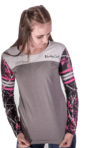Muddy Girl Camo Womens Ladies Long Sleeve Stripe Shirt Top Purple Pink Gray Grey