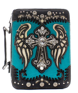Rhinestone Cross Wings Bible Cover Case Turquoise Blue