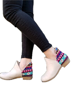 Aztec Geometric Womens Low Cut Dress Ankle Boots Bootie Slip On Shoes Brown Tan Beige Off White