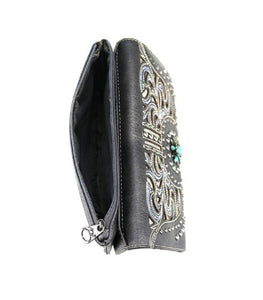 Montana West Flower Floral Studded Turquoise Concho Bifold Zipper Wallet Black Gray Turquoise Blue