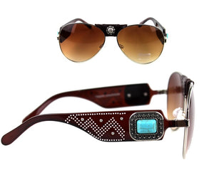 Montana West Turquoise Blue Concho Leather Wrap Aviator Sunglasses Black Brown Cheetah Leopard
