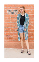 Crazy Train Aztec Hooded Cardigan Geometric Lightweight Jacket Turquoise Blue
