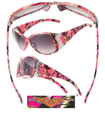 Vertx Pink Camo Western Cowgirl Camouflage Ladies Womens Rhinestone Sunglasses
