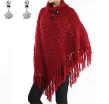 Fringe Hippy Winter Pull Over Poncho Shawl Black or Red Rhinestone Star Earrings