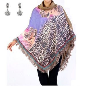 Fringe Poncho Shawl Wrap Cheetah Leopard Aztec Paisley Rhinestone Star Earrings