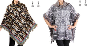 Fringe Poncho Shawl Wrap Brown Army Camo Aztec Paisley Star Gray Grey Star Earrings