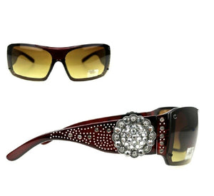 Montana West Concho Sunglasses Bling Rhinestone Womens Ladies Shades Black Brown Red Leopard