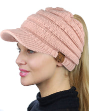 CC Soft Stretch Knit High Bun Ponytail Skully Warm Beanie Toboggan Brim Hat Cap
